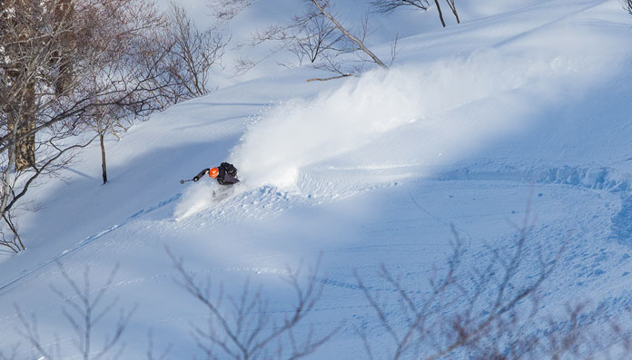 Powder skiing at Tenjindeira, Gunma
