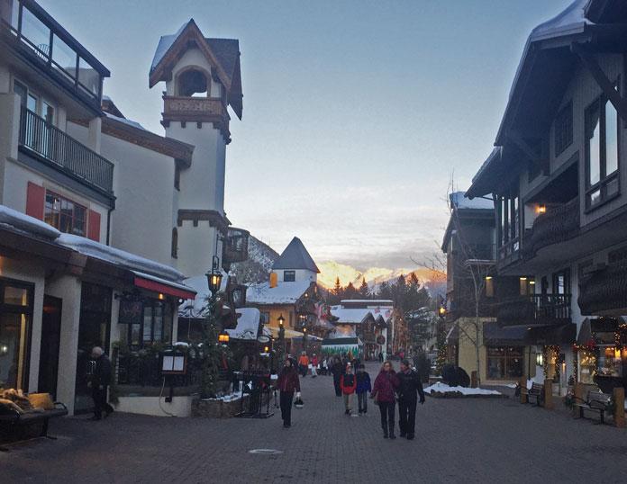 Vail main street in winter