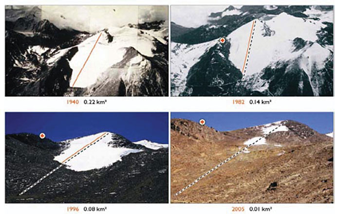 Predictions for melting of the Chacaltaya glacier proved too optimistic as these aerial views illustrate