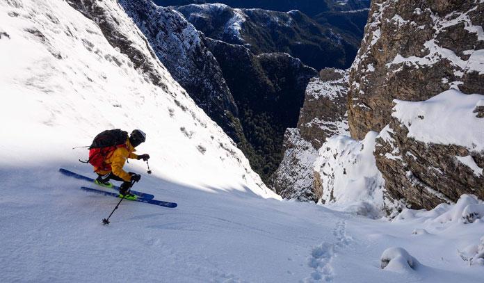 Steep couloir skiing Tasmania testing the ROXA RX Tour boot for Snow Action