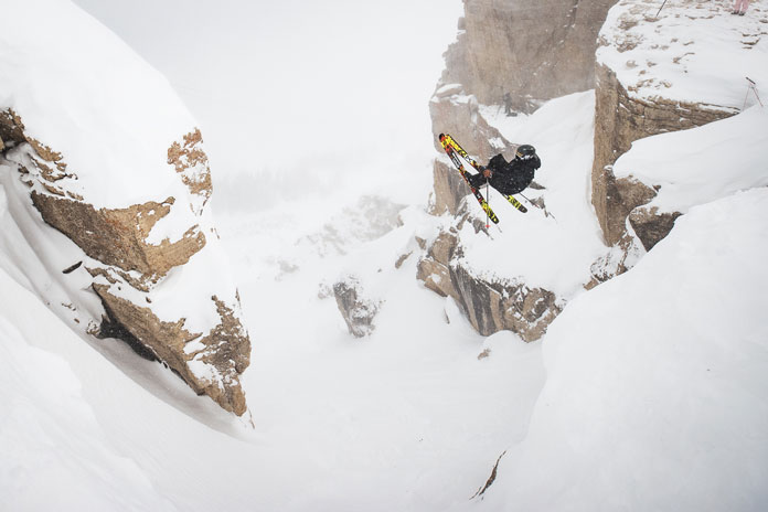 Krazt Karl Fotvedt dropping into Kings and Queens of Corbet's at Jackson Hole