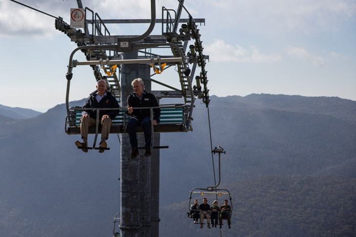 Governor General Daviid Hurley rides the chairlift at Thredbo