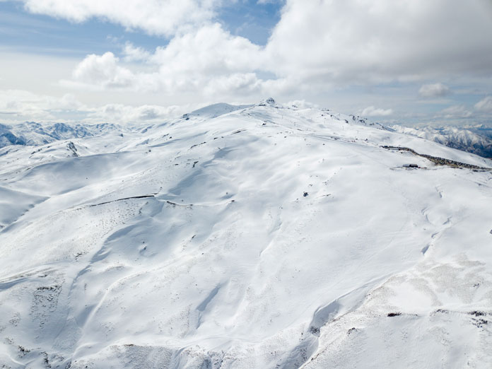 Aerial view of the new terrain opened up by the Willows Quad chair at Cardrona