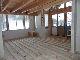 Living room/Kitchen of Ponderosa, awaiting the radiant heat floors