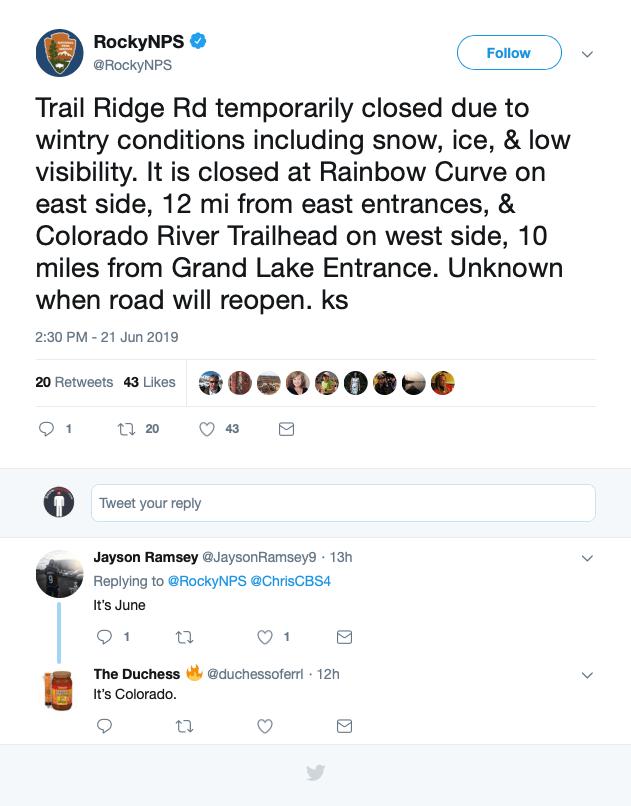 trail ridge road, colorado, closed, summer, winter