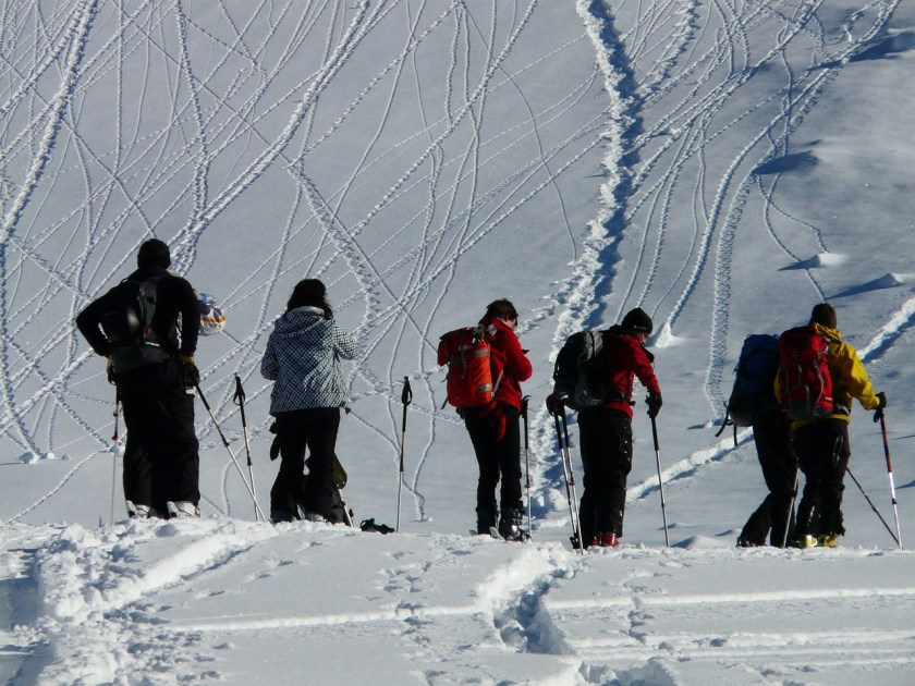 Group going uphill