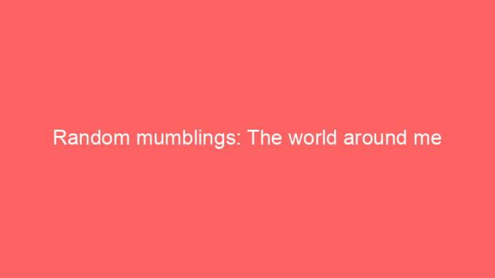 Random mumblings: The world around me 3