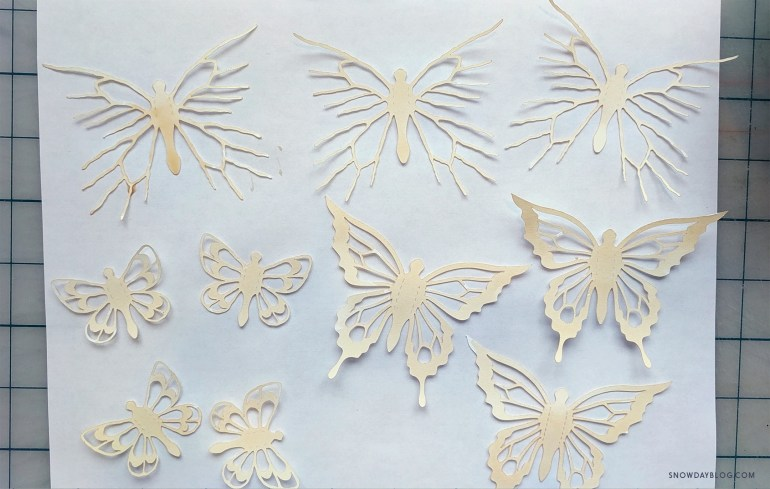 tea stained butterfly stickers