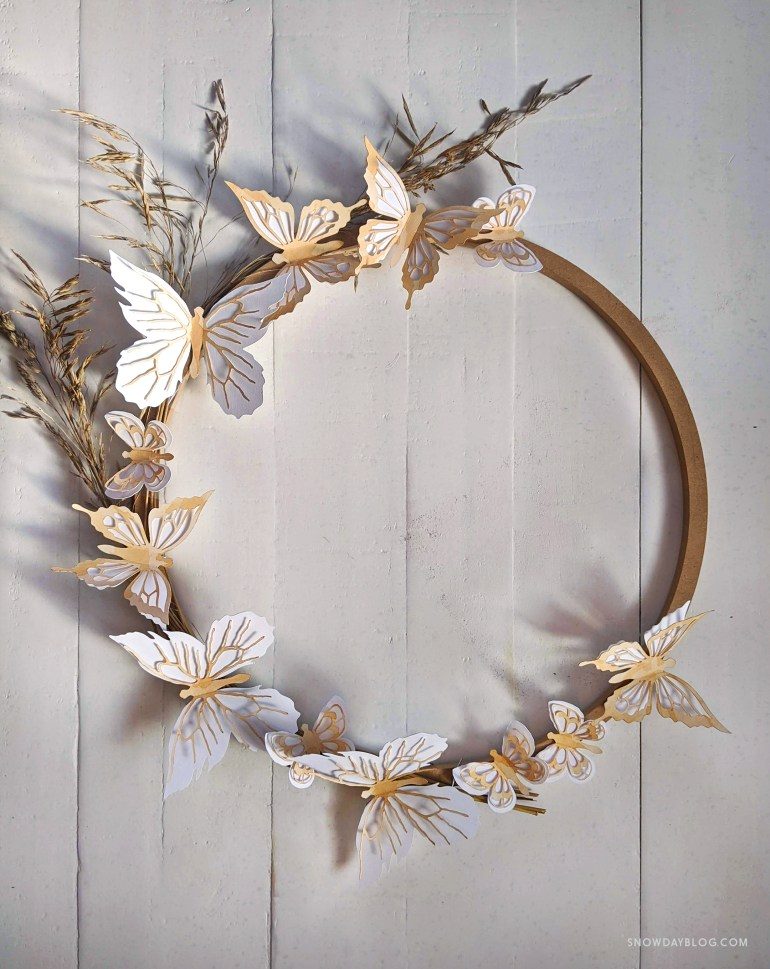 tea stained butterfly stickers on wreath