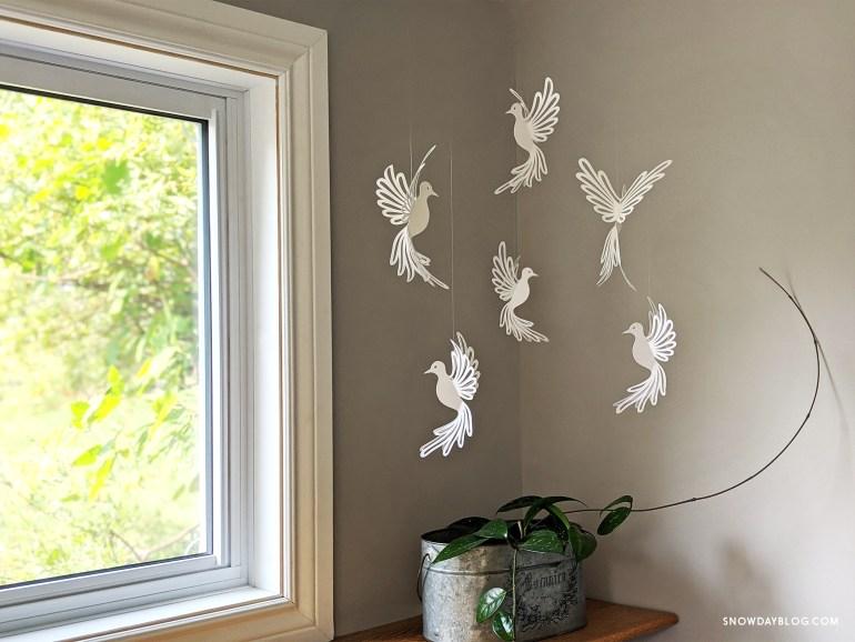 Dove, dove SVG, dove craft, hanging doves, dove decoration, diy dove, paper doves, paper birds, white doves
