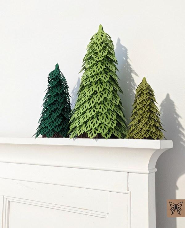 Woodland Christmas Trees mantel decor, green trees