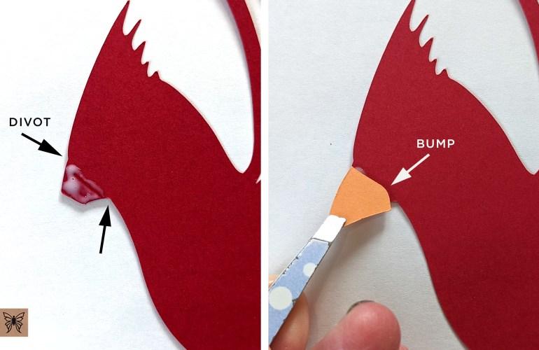 Gluing cardinal beak to head