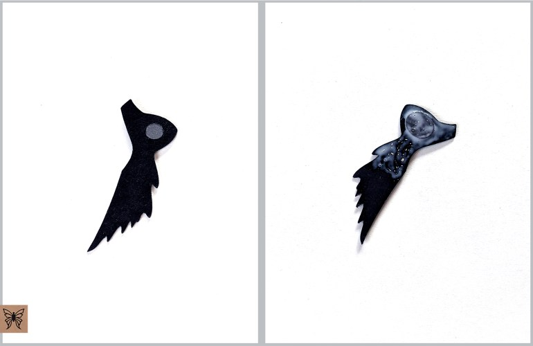Black feather piece with glue