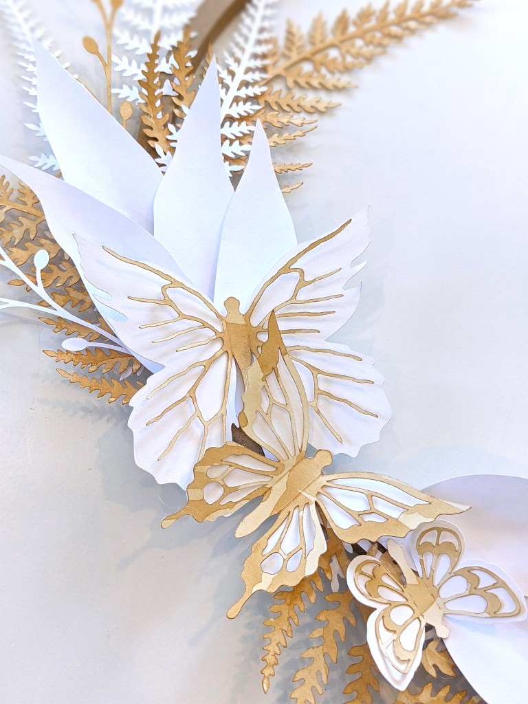 Tea stained Prairie butterfly stickers, paper fern wreath