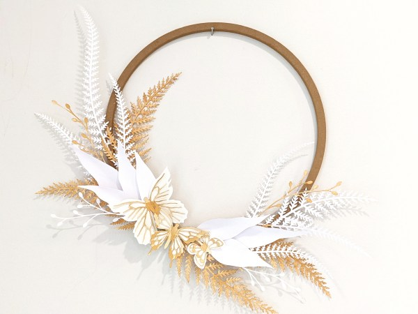 DIY paper fern wreath, decorative wreath, diy paper wreath