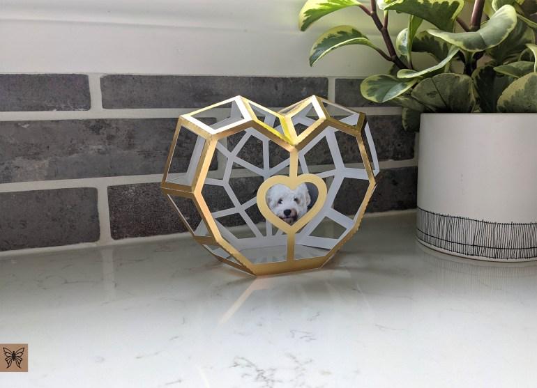 Heart lantern & photo frame in gold