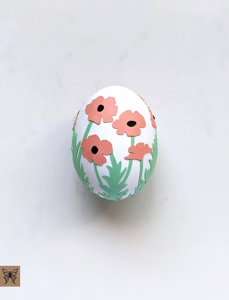 Egg with Salmon poppies wrap decoration