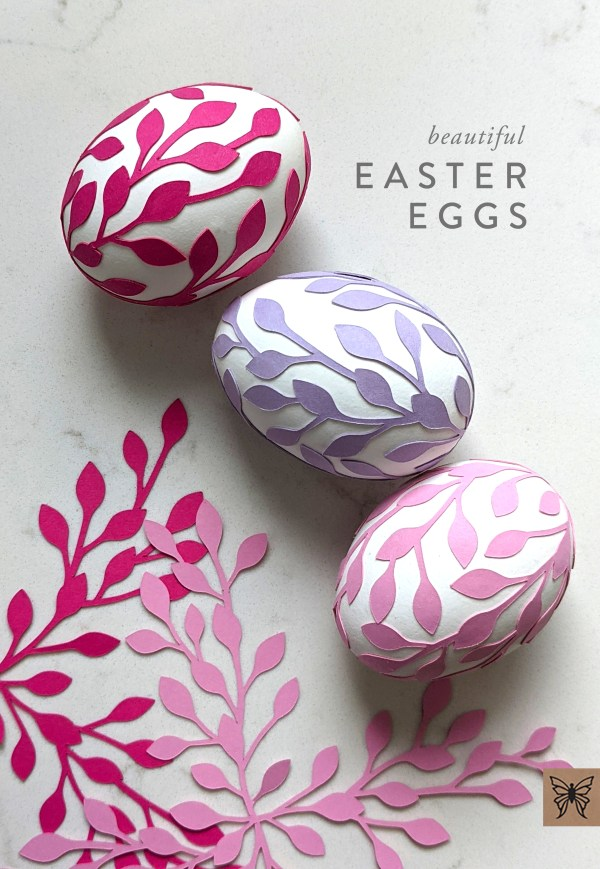 Easter eggs with leaf wrap svg cutouts
