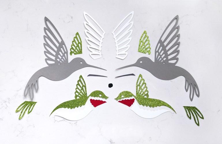 hummingbird parts, cutouts, template