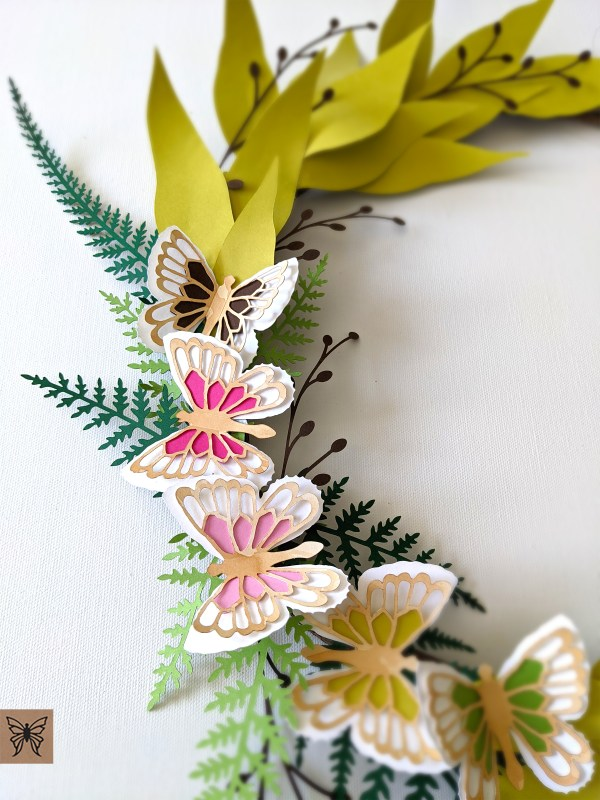 Butterfly Stickers SVG on wreath