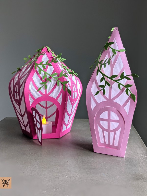 Pink fairy houses, fairy party