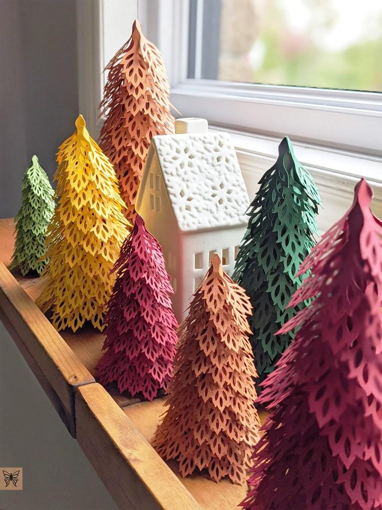 Christmas mantel decoration, Fall woodland trees