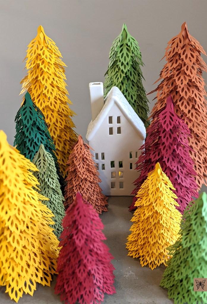 Fall trees, leaf svg, fall paper crafts