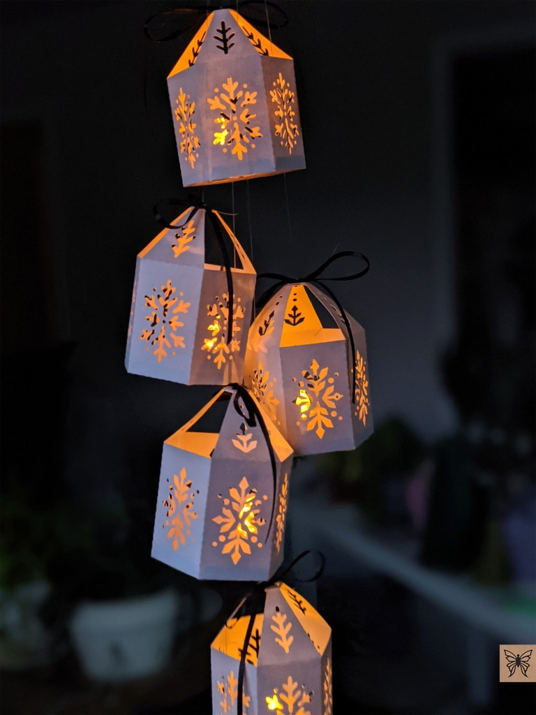 christmas paper lanterns with LED tealights