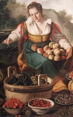 CAMPI, Vincenzo. (b. 1536, Cremona, d. 1591, Cremona) The Fruit Seller. c. 1580. Oil on canvas, 145 x 215 cm. Pinacoteca di Brera, Milan.