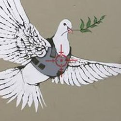 Banksy, Armoured Peace Dove. This wall marks the spot where over 40 people were killed during the first Intafada (holes along the top are from bullets).