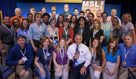 NASA Administrator Charlie Bolden with the NASA JPL MSL Social Networking Team.