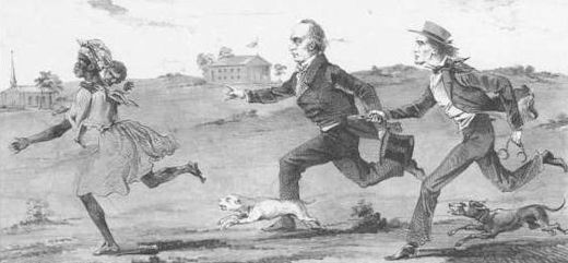 In this 1857 lithograph by Peter S Duval, president James Buchanan appears as a flunky of slave owners, helping a bounty hunter chase a runaway slave.