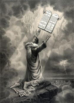 Moses receiving the ten commandments. 1877 lithograph, artist unknown.