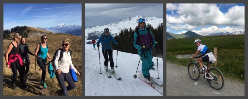 Activités sportives en montagne : randonnée pédestre, randonnée à ski et VTT.