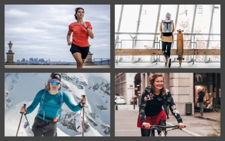 Snowflike - collage images de femmes sportives - running - ski de randonnée - velo - skateboard