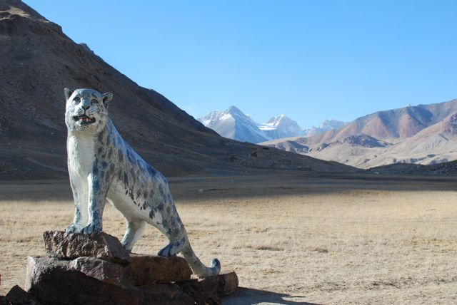 A snow leopard statue at the ranger station in Sarychat-Ertash