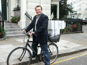 Stephen on his delivery bike