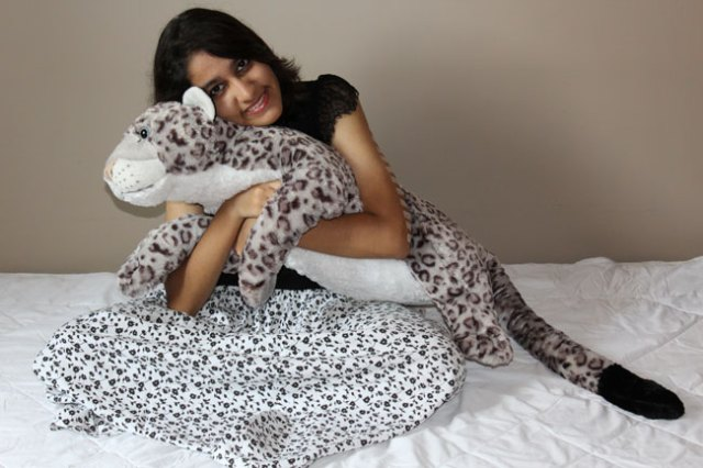 Saloni and her beloved plush snow leopard
