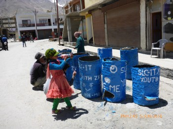 Garbage barrels in Zanskar.