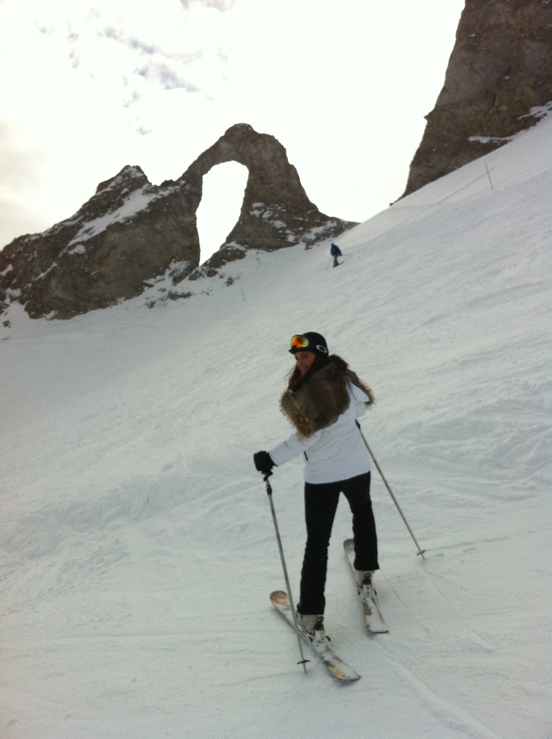 Sacha from our LMR group stopped in a great spot in Tignes - The eye of the needle