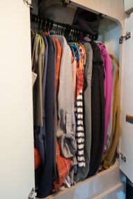 The clothes closet in the bathroom