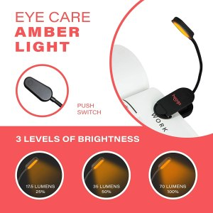 Amber Clip-On Travel Reading Light
