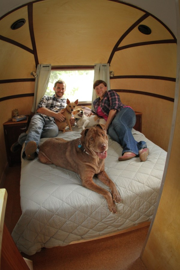 "Our cozy Airstream bedroom, ""after"". Photo by Jennie Huettel - Mountain Mutt Media"