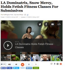 """""""Some Los Angeles residents are getting whipped into shape with the help of a dominatrix. Her name is Snow Mercy, and this Snow White lookalike holds """"fetish fitness"""" classes where she exercises her power over a group of students."""""""