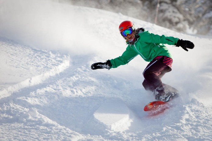 This is NOT Ashleigh boarding Snowmass, but she wishes it was.
