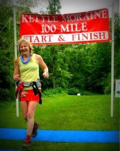 Angela Barbara's joyful response as she crossed the finish line