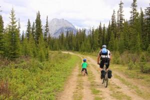 Family biking at Mt. Shark