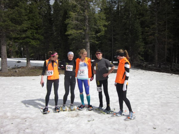 The top five women 10K snowshoe racers and members of the national team from left to right:  Carolyn Stocker, Westfield, Massachusetts  ; Brandy Erholtz, Evergreen, Colorado; Stephanie Howe, Bend, Oregon; Christy Runde, Brush Prairie, Washington; Dolores Bergmann, Chester, California.