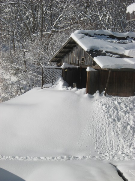 Japanese hot spring building in snow myoko kogen Ikenodaira-onsen