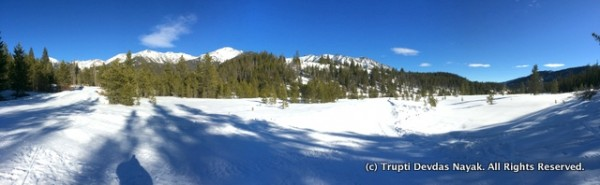 A Panorama of Snowshoe trails near Galena Lodge